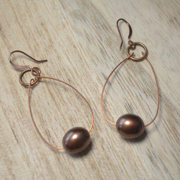 Copper Wire Pearl Earrings